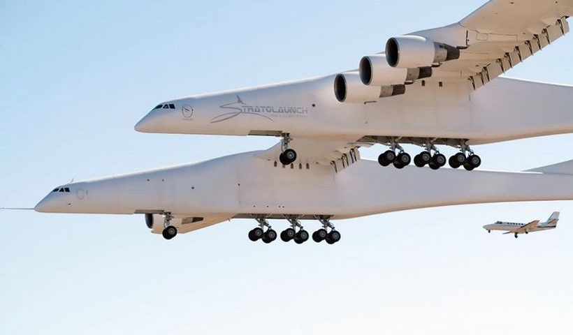 World's biggest plane makes first trip over California